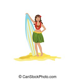 Woman In Classic Hawaiian Outfit Holding Surf Board Bright...