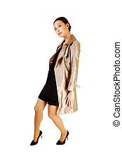 Woman in coat.