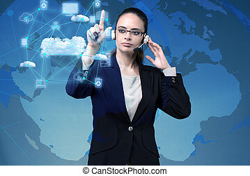 Woman in computing concept pressing buttons