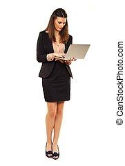 Woman in Copyspace Using Laptop