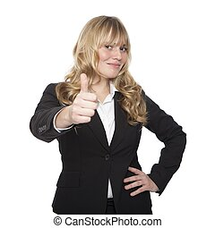 Woman in Corporate Attire Showing Thumbs up Hand - Woman in...
