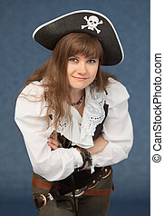 Woman in costume pirate