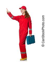 Woman in coveralls pressing virtual button