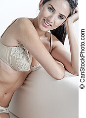 Woman in cream underwear