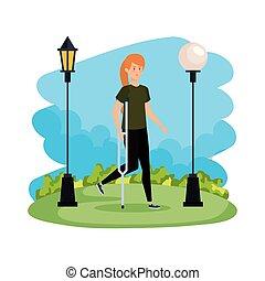 woman in crutch character