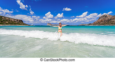 Woman in crystal clear sea - Happy woman in crystal clear...