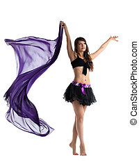 woman in dance costume posing with flying cloth