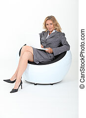 woman in design chair