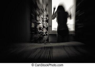 Woman in despair motion blur