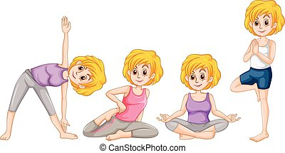 Woman in different position of yoga