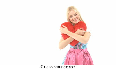 Woman in Dirndl with Pillow