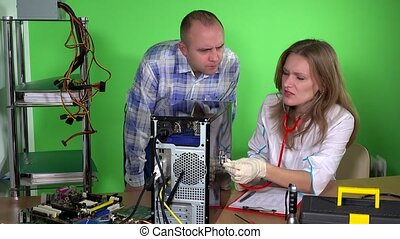 woman in doctor gown examines broken computer in the specialist cabinet. The concept of computer repair. 4K