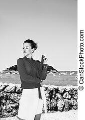 woman in Donostia; San Sebastian, Spain looking aside