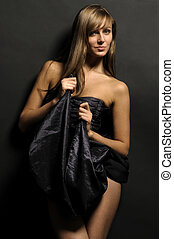 Woman in drape - Portrait of the beautiful woman dressed in...