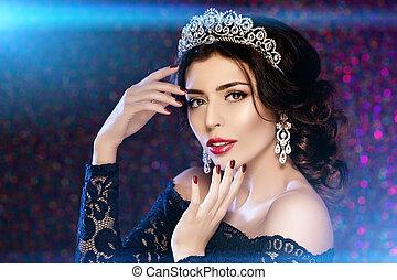 Woman in dress crown - Woman in lux dress crown, queen...