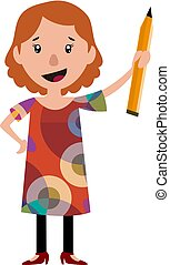 Woman in dress holding a big pencil illustration vector on white background