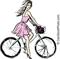 woman in dress on bicycle