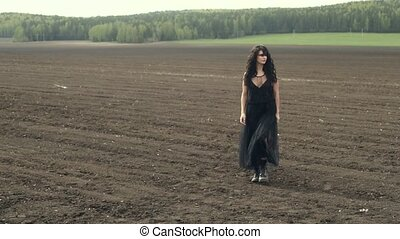 Woman in dress on nature