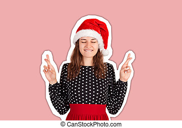 woman in dress smiling broadly, closing eyes and raising crossed fingers while praying and hoping. Magazine collage style with trendy color background. holiday concept