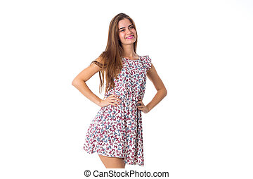 Woman in dress smiling