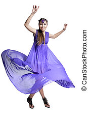 woman in dress spinning