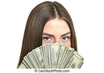 Woman in dress with money