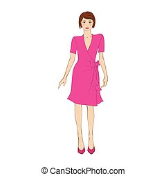Woman in elegant pink dress flat icon