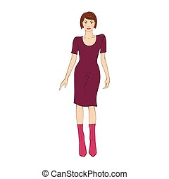 Woman in elegant purple dress flat icon