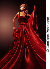 woman in elegant red dress. Profess - Beautiful blond woman...