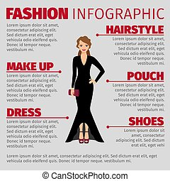 Woman in evening dress fashion infographic