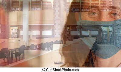 Woman in face mask against empty library - Animation of ...