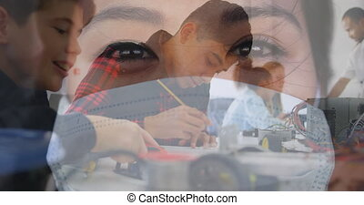 Woman in face mask against students studying - Animation of ...