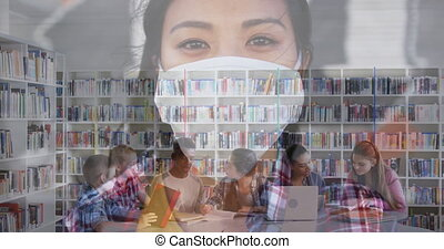 Woman in face mask against students studying in library - ...