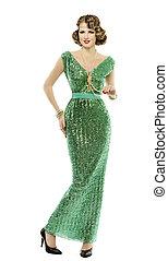 Woman in fashion retro sequin dress, luxury lady elegant vintage