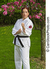 woman in fighting stance
