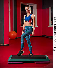 Woman in fitness club