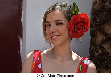 Woman in flamenco dress