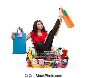 Woman in flexible pose with shopping bags