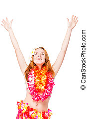 Woman in flower necklace with her hands raised on a white background