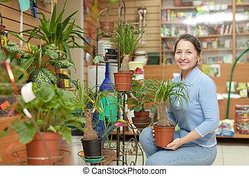 Woman in flower store