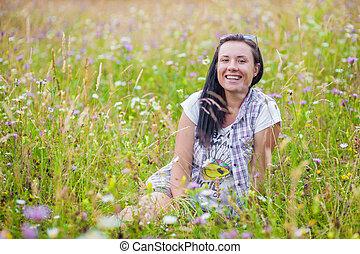 woman in flower wild