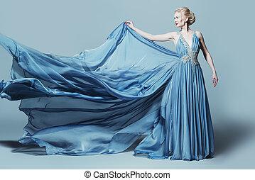 woman in flying dress - Full length portrait of a...
