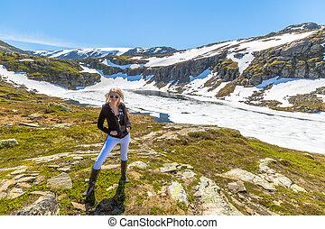 Woman in Folgefonna glacier