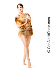 woman in fox for coat
