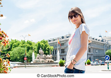Woman in front Cibeles Fountain