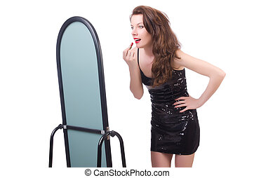 Woman in front of mirror