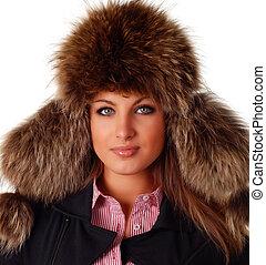 woman in fur cap - beautiful woman in fur cap with ear flaps