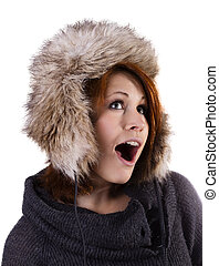 Woman in fur winter hat