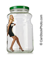 Woman in glass jar isolated on white