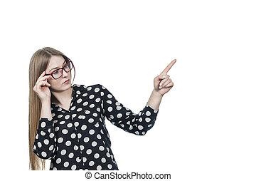 woman in glasses points to the side